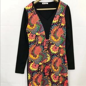 Ginger + Soul Dress Floral Body Con Long Sleeves